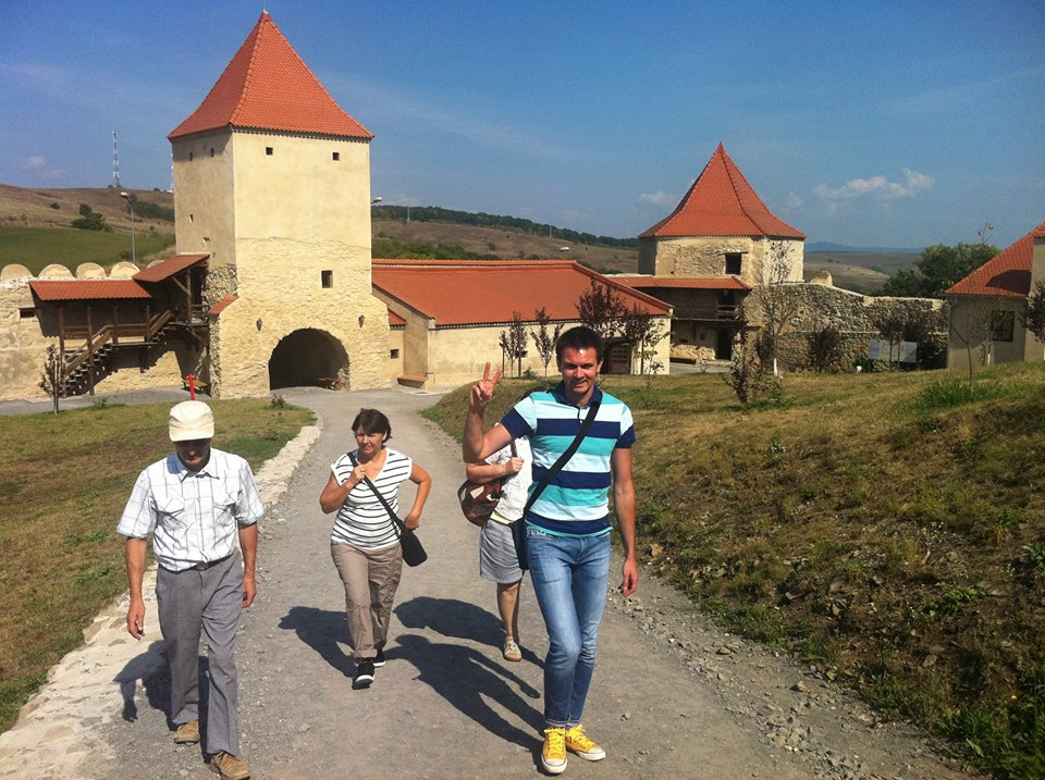 Climbing to Middle Fortress at Rupea