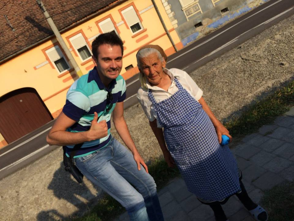 With an old lady from Saschiz (UNESCO)